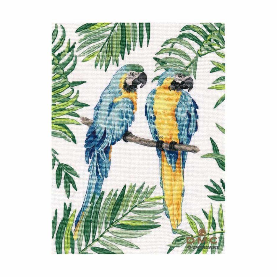 Papegaaien borduren