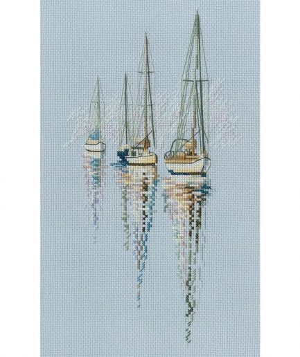 Boten in zee borduren kruissteek
