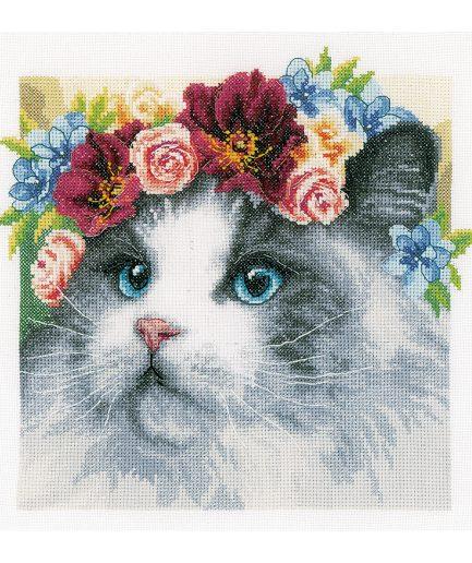 Kat met bloemenkrans borduurpakket