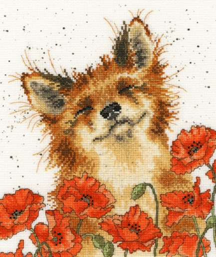Bothy Threads borduurpakket poppy field vos en klaprozen