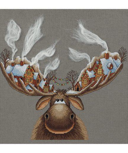 Kerst borduurpakket christmas moose eland met huisjes PANNA