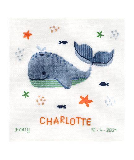Geboorte borduurpakket walvis