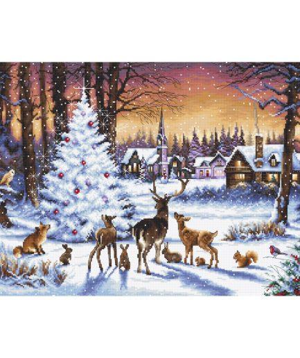 Bosdieren met kerstboom borduurpakket