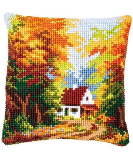 huisje in herfstbos kussen borduren