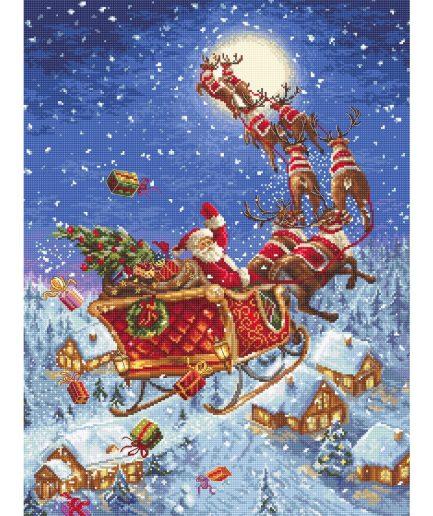 Kerstman en rendieren borduurpakket
