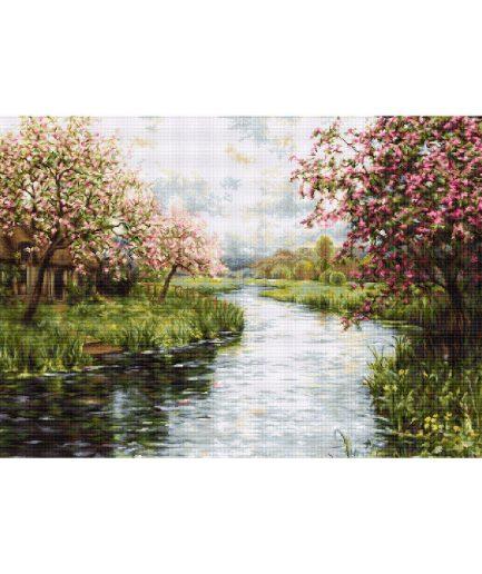 Lente landschap met rivier en bloesems borduurpakket